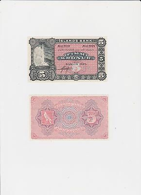 Iceland banknote, 5 kr UNC from the year 1920.