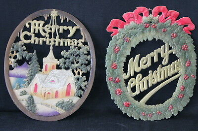 vintage pair antique Christmas cardboard cutouts church wreath