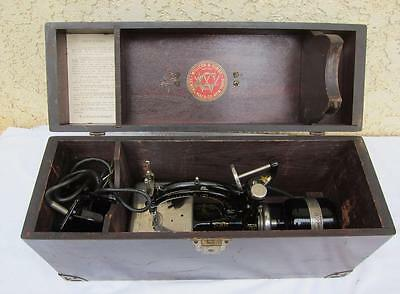 Antique Wilcox & Gibbs Electric Sewing Machine w/ Original Box & Pedal - WORKS l