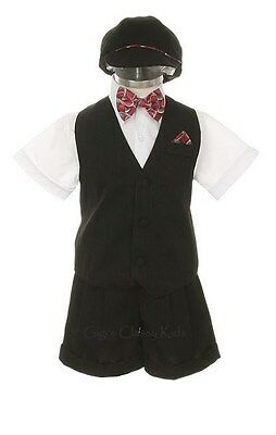 New Toddler Boys White Black Shorts Set Outfit Suit Wedding Easter Party 7002