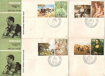 Bhutan / Bhoutan 1972 Famous Paintings Relief stamps Issue.... 8v set on 4 FDCs