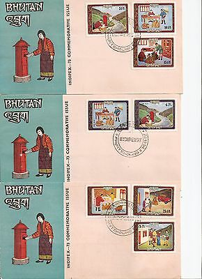 Bhutan / Bhoutan 1973 INDIPEX Commemorative Issue 3 FDCs