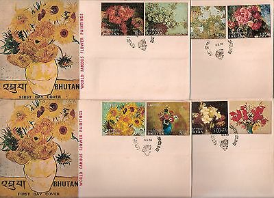 Bhutan / Bhoutan 1970 Famous Flower Paintings 8 stamps on 4 FDCs