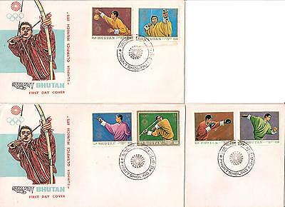 Bhutan / Bhouton - Summer Olympics - Munich 1972 - Complete set of 8 stamps on 4