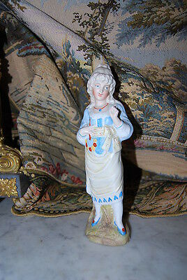 Old Victorian Style German Hand Painted Bisque Or Parian  Lady Girl Figurine