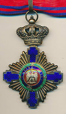 Royal STAR of ROMANIA SILVER Neck BADGE Order Romanian MEDAL COMMANDER 1878