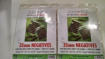 Clearfile 35mm Negatives Archival Storage Pages  25 pages   2 Packs NEW