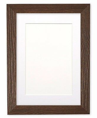 Driftwood Effect Flat Picture Photo Frame Poster Frame With Bespoke Mount Walnut
