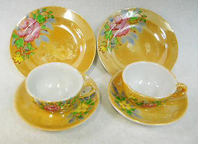 Vintage Lusterware Hand Painted Childs Toy Dishes Tea Set Occupied Japan 6 pcs