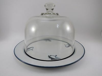"""Dansk Flora BAYBERRY BLUE Cheese Plate 8.75"""" a Glass Dome Japan Porcelain China"""