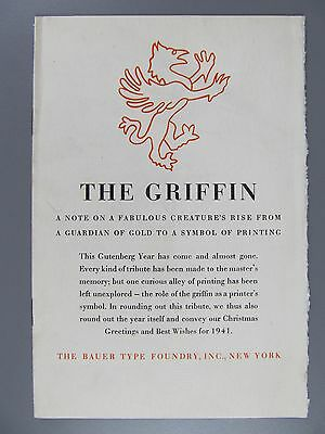 The Griffin, A Note..., Bauer Type Foundry, 1941