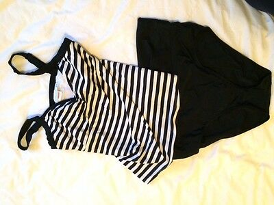 Jojo Maman Bebe Maternity Tankini/Swimsuit Black and white stripe Size Medium