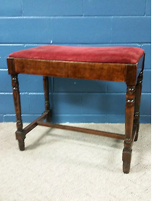 Vintage Vanity Bench Foot Stool  Wood Seat ANTIQUE French Country Ottoman