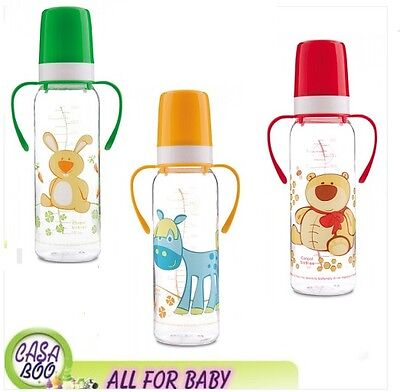 Canpol Babies BOTTLE WITH HANDLES 250 ml COLOUR Happy Animals