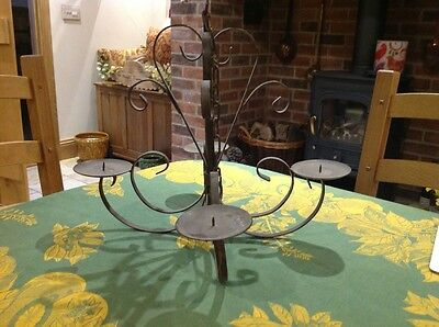 Hanging Candle Chandalier Vintage Wrought Iron