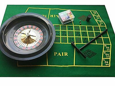 "Deluxe 10"" Roulette Set Boxed with Chips Wheels Felt Rake Cards Casino Gambling"