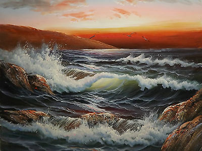 sunset ocean large oil painting canvas art sea contemporary seascape original