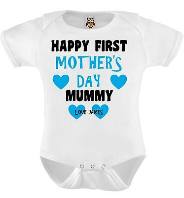 Personalised Happy First Mothers Day, Mothers Day Baby Bodysuit, Baby Vest 120