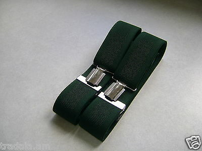"""QUALITY MENS TROUSER BRACES SUSPENDERS 35mm 1.5"""" WIDE RACING GREEN *NEW BOXED*"""