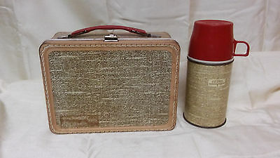 Vintage Metal Lunchbox And Thermos Looks Like Stitched Leather