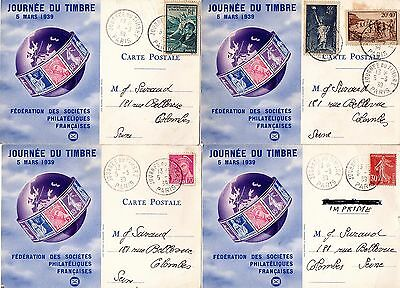 JOURNEE DU TIMBRE Paris 1939 4 CP