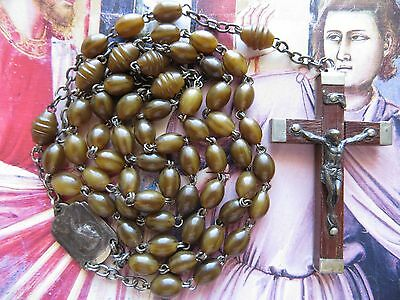 Early 1900s Antique Horn Beads 'Indestructible' Rosary-Metal Framed Crucifix