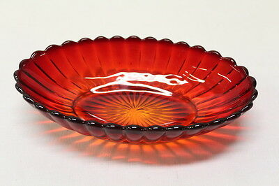 Brilliant Red Oval Depression Glass Serving Dish Flat Star Bottom Vintage