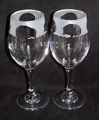 """New Etched """"HEDGEHOG WINE GLASS(ES)""""  - Beautiful Gift For Any Occasion"""
