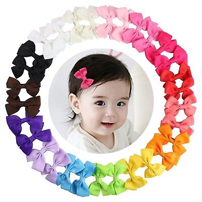 15 Pairs Tiny Baby Girls Grosgrain Ribbon Hair Bows Clips for Toddlers Kids (...