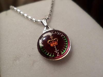 Vintage Enamelled Half Penny Coin 1971 Pendant & Necklace. Ideal Birthday Gift