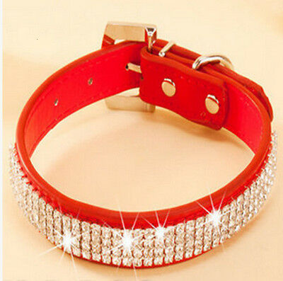 New Leather Rhinestone/ Diamante BLING cat or dog collar in red Large