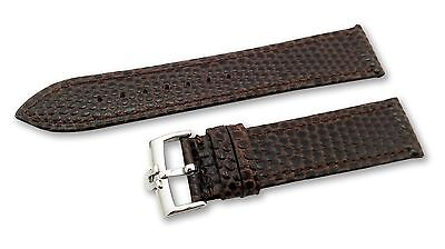 D-Brown Leather Watch Strap Band fit Omega Snake Vintage Buckle Clasp 18 19 20mm