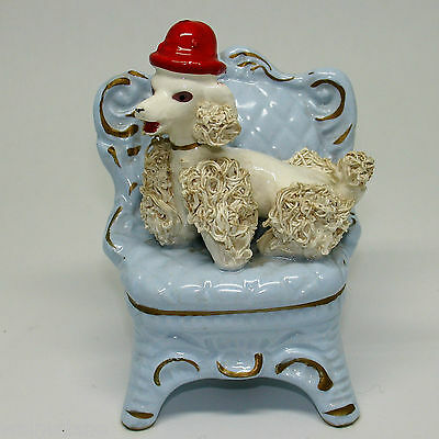 Vintage 1950s White Spaghetti Poodle on Blue Boudoir Chair Red Derby Hat