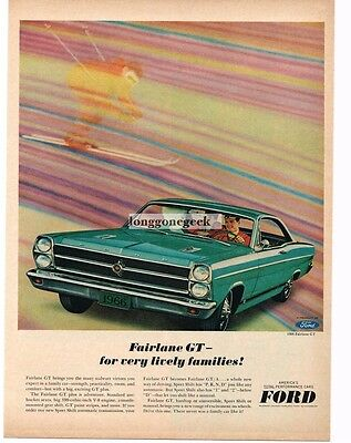 1966 Ford FAIRLANE GT Turquoise 2-Door Coupe Vtg Print Ad