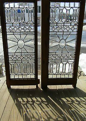 Great Pair Of Antique Victorian Beveled Glass Windows