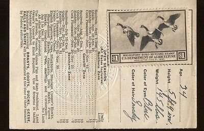ILLINOIS 1936 Resident Hunting License/ RW3 Federal Duck Stamp - 313