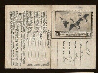 ILLINOIS 1936 Resident Hunting License/ RW3 Federal Duck Stamp - 312