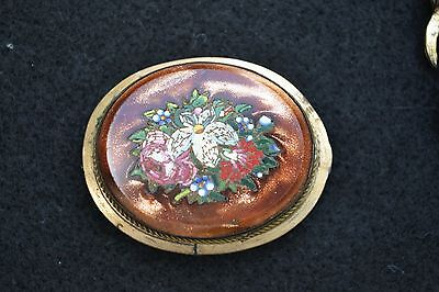 Antique goldstone micro mosaic very fine flowers brooch pin tiny detailed tiles