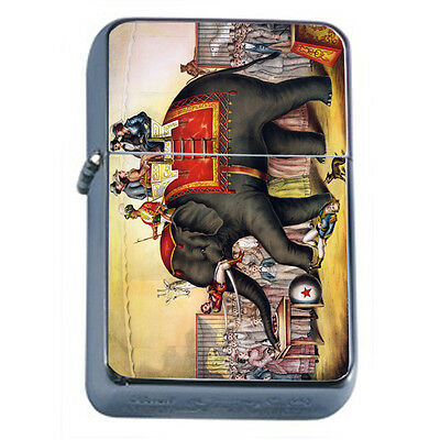Vintage Poster D200 Windproof Dual Flame Torch Lighter Circus Elephant Perform