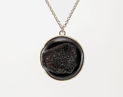 Necklace pendant druzy agate silver 925 sterling natural gemstone jewelry chain