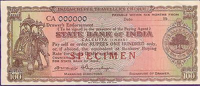 Rare State Bank Of India Travellers Cheque Elephant Specimen 100 Rupees