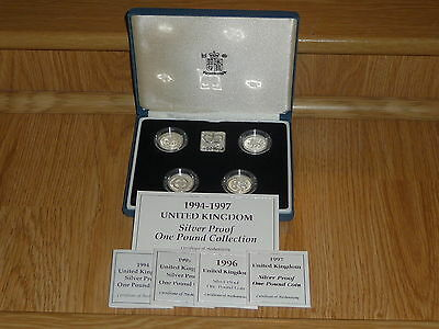 1994-1997 silver proof £1 4 coin set