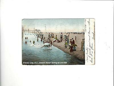 "ATLANTIC CITY NJ Post Card 1906 ""Smooth Water Bathing At Low Tide"""