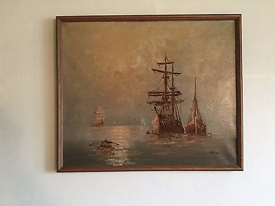 Large Oil Painting on Canvas of Ships Under a Stormy Sky - Signed L. Alexis
