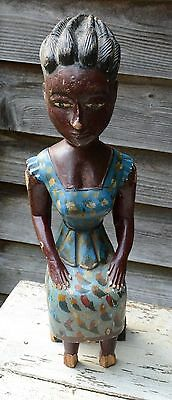 African Statue Wood Painted Antique Possibly Haitian 1900-1940