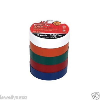 """Color Coded Electrical Tape 5 Rolls 1/2"""" x 20'"""