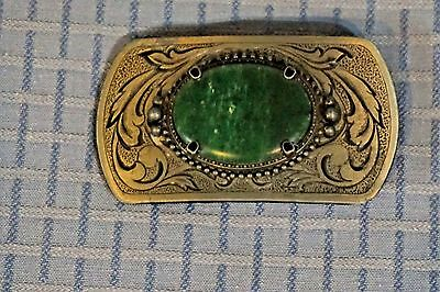 VTG Cowboy Belt Buckle Silver Tone Green Bakelite Center SW Engraved Metal