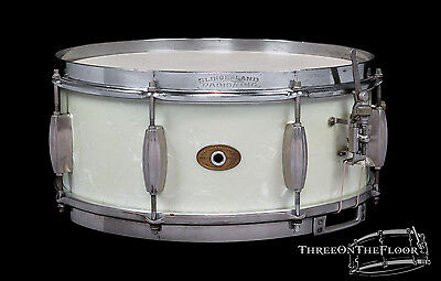 1953-56 Slingerland Radio King Snare Drum : 5.5 x 14 Finish : White Marine Pearl