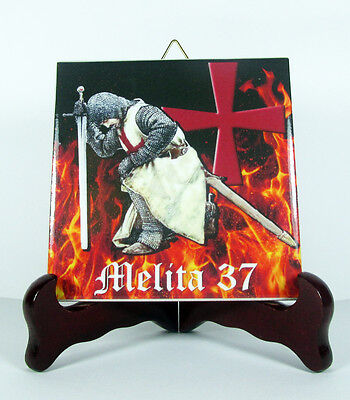 Knights Templar Ceramic Tile CUSTOMIZABLE WITH YOUR NAME or PHRASE mod.2B