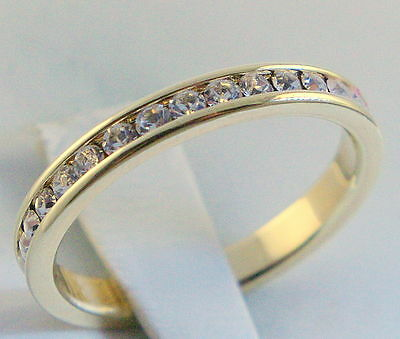 2.5 mm 1 carat cz Ladies eternity band 18K gold overlay ring size 6